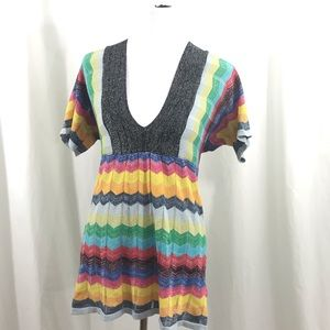 Desigual Knit Rainbow Metalic Striped Blouse M